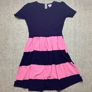 LuLaRoe Amelia Purple&Pink Striped Midi Dress